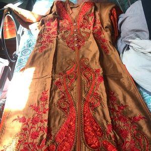 Dresses & Skirts - Brown red orange shalwar kameez